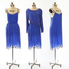 Vintage 70s Swee Lo SILK Blue beaded Sequin zigzag 3pc Cocktail Party Deco dress