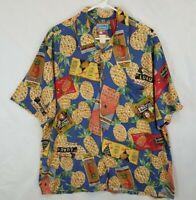 JOE KEALOHA Reyn Spooner Hawaiian Endless Summer Pineapple Ads Rayon Shirt Sz XL
