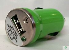 VERDE Universale UNICO CAVO USB Auto Sigaretta Accendino Caricabatterie Adapter 1 telefono
