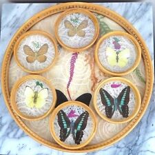 "Chinese Butterfly Coaster Set - Bamboo & Glass - 11"" Diam - New in box"