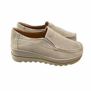 Women's Walking Slip On Loafers Boat Suede Ecru Shoes US 8