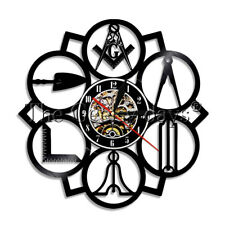 Mason Logo Vinyl Record Clock Masonic Free Wall Clock Freemason Square Compass