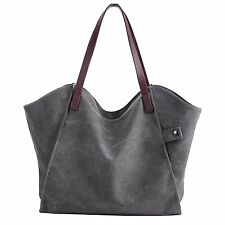 Sanxiner Womens Casual Canvas Tote Bags Shoulder Handbag Travel Bag Gray