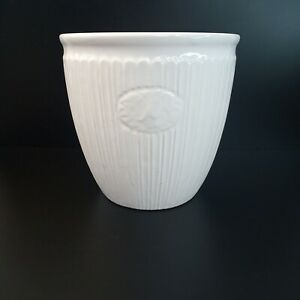 """White Gloss Ribbed Ceramic Planter Small 4.75"""" wide x 4"""" tall"""