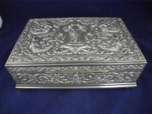 Large Antique Silver Oriental Hindu Ornate Box Elephants, Figurines, Wood Lining