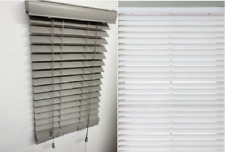 Faux Wood String Venetian Blinds Trimmable 50mm Slat White and Grey
