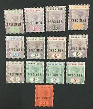 MOMEN: SIERRA LEONE SG #41s-53s SPECIMEN 1896-7 MINT OG H LOT #191839-645