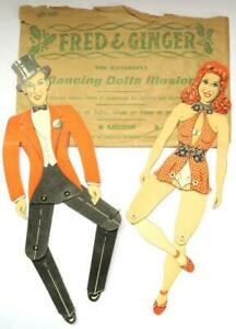 VINTAGE 1950s PAPER DOLLS ARTICULATED DANCING DOLLS FRED ASTAIRE & GINGER ROGERS