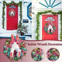 Easter Rabbit Wreath Decor For Front Door Thief Bunny Ears with Wall Butt F1Z3