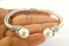 White Cultured Pearl Ornate Balinese 925 Sterling Silver Cuff Bangle Bracelet