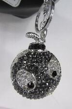 New Big Silver Bird Metal Key Chain Ring Wallet Charm Angry Boom Rhinestones