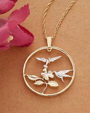 "Hummingbird Pendant & Necklace Hummingbird Coin Hand Cut,1-1/8""dia.( #551 )"