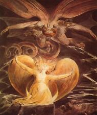 William Blake The Great Red Dragon Satan and Woman Fine Art Real Canvas Print