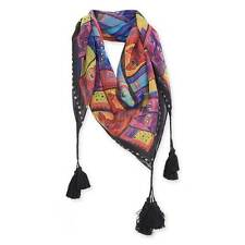 """Laurel Burch Colorful Portraits Whisker Cats Artistic Square Scarf 35"""" x35"""""""