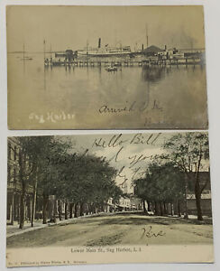 2 Postcards 1904-05 SAG HARBOR L.I. Sidewheeler Steamer GREENPORT RPPC