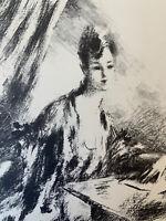 Charles Guerin Gravure Lithographie Portrait De Femme