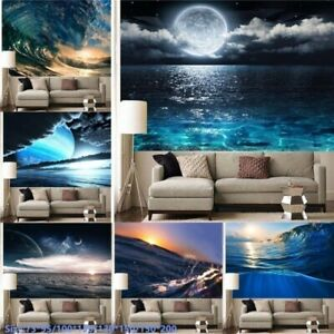 Sea Wave Moon Sun Tapestries Wall Hanging Tapestry Bedroom Art Background Decor