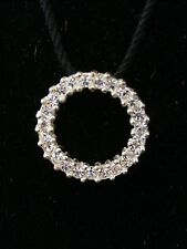 Stunning Vintage Sterling Silver Cubic Zirconia Circle Pendent. Make Offer #2019