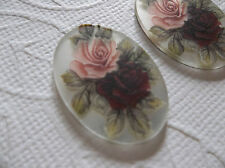 Vintage 25X18mm Glass Cabochons Red & Pink Roses on Crystal Mirror Cameos Qty 2