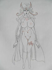 DEJAH THORIS by artist Siriguana - Original b&w + color pencil drawing - signed