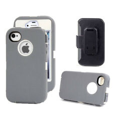 For iPhone 4 4S Case Full Body Defender Case w/ Screen Protector & Holster Clip