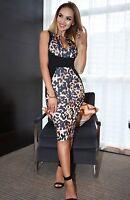 Black Leopard Print Illusion Bodycon Evening Party Midi Wiggle Pencil Dress