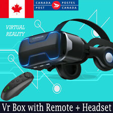 Vr Box with Remote + Headset, Virtual Reality Headset for Samsung iPhone Google