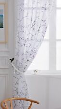 CHERRY BLOSSOM Floral Print Sheer Organza Voile Curtain Slot Top Header Panels