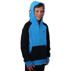 Hurley Youth Boy's Blue Hoodie Sweatshirt Shark Jacket with Eyes & Teeth 982108