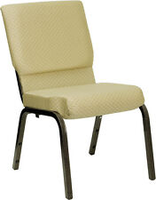 18.5''W BEIGE PATTERNED FABRIC STACKING CHURCH CHAIR - GOLD VEIN FRAME