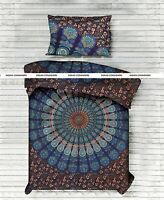 Peacock Mandala Brown Cotton Duvet Cover With Pillow Cover Twin Size Handmade