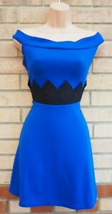 BARDOT BLUE BLACK LACE CROCHET PARTY SHORT SLEEVE SKATER MINI DRESS 16 18 XL