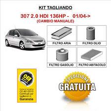 KIT TAGLIANDO 4 FILTRI TECNECO PEUGEOT 307 2.0 HDI 01/04->