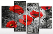 LARGE RED BLACK FLORAL FLOWER CANVAS WALL PICTURE 100cm