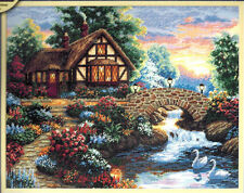Dimensions Gold Counted Cross Stitch Kit TWILIGHT BRIDGE Cottage Floral Garden