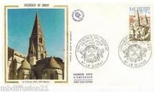 1977 - ENVELOPPE SOIE - FDC 1°JOUR - COLLEGIALE DU DORAT - TIMBRE Y/T 1937