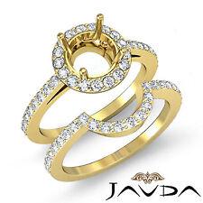 Diamond Round Cut Semi Mount Engagement Ring Bridal Setting 14k Gold Yellow 1Ct