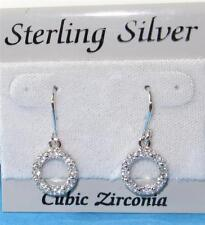 925 Sterling Silver Dangle Earrings Cubic Zirconia Circles  2.6 grams $40