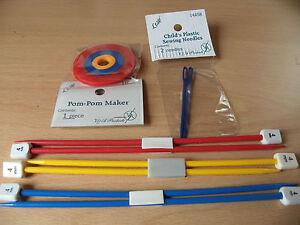 CHILDRENS CHILDS PLASTIC KNITTING NEEDLES * POMPOM MAKER*SEWING NEEDLES FREE P&P