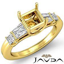 Diamond 3 Stone Wedding Ring 14k Yellow Gold Princess Baguette Semi Mount 0.5Ct