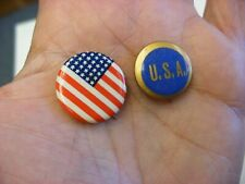 New listing 2 Vintage American Flag & Manufacturers National Bank U.S.A. Pinback Button