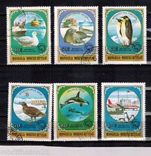 1980- 6 TIMBRES OBLIT.**//PINGOUIN/BIRD/ANTARTIC-EXPLORATION////MONGOLIE.