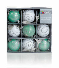 9 x Green & White Decorated Christmas tree Baubles Decorations Mixed finishes