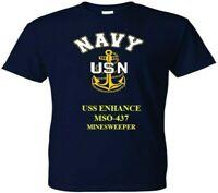 USS ENHANCE  MSO-437  MINESWEEPER  VINYL & SILKSCREEN NAVY ANCHOR SHIRT/SWEAT