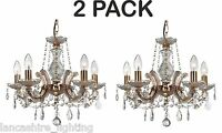 Pack of 2 - Marie Therese Glass Crystal Chandelier Light - Polished Brass
