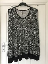 YOURS CLOTHING MONOCHROME SLEEVELESS JERSEY TUNIC/TOP SIZE 26/28 PLUS SIZE ♡♡♡