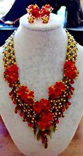 Signed COLLEEN TOLAND  Red green yellow Flower Necklace Bracelet & Earrings SET