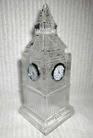 "Vintage Fifth Avenue Crystal Clock Tower Genuine Quartz 3 Clocks Heavy 11"" RARE"