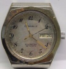 Vintage Gents Caravelle Day/Date Stainless Steel Wrist Watch 2nd Hand. Battery