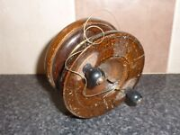 "VINTAGE WOOD & BRASS 4"" FISHING REEL WITH LINE ON/OFF RATCHET GOOD CONDITION"